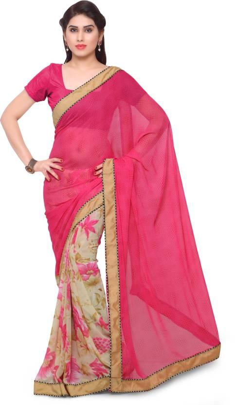 Rangoon Printed Fashion Pure Georgette Saree(Multicolor)