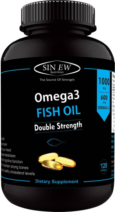 Sinew Nutrition Omega 3 Double Strength Fish Oil 1000mg (300EPA & 200DHA), 120 Softgels