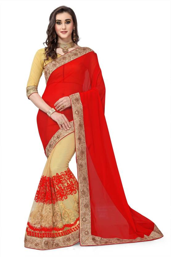 104bb807e4cbe2 Buy IndianEfashion Embroidered Fashion Georgette, Net Red Sarees ...