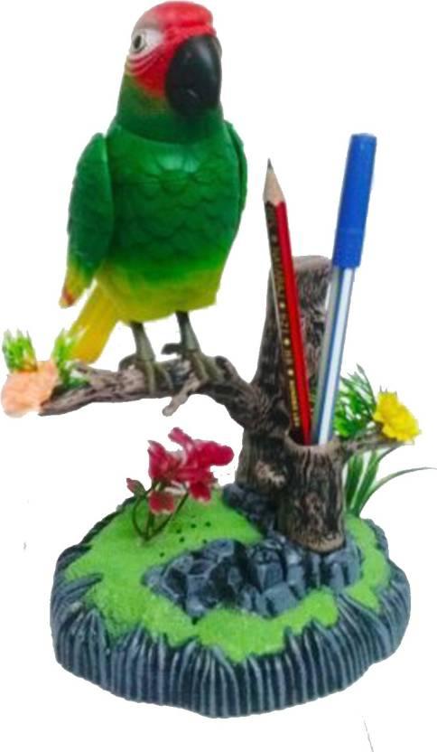 Kaarq Heartful Bird Cool Sound Activated Singing Flapping Parrot Cum Pen Holder Home Decor Decorative Showpiece