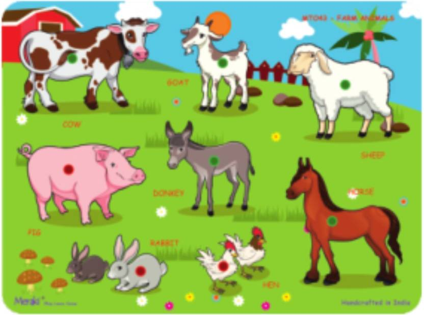wood o plast puzzle cutouts with knobs farm animals price in india