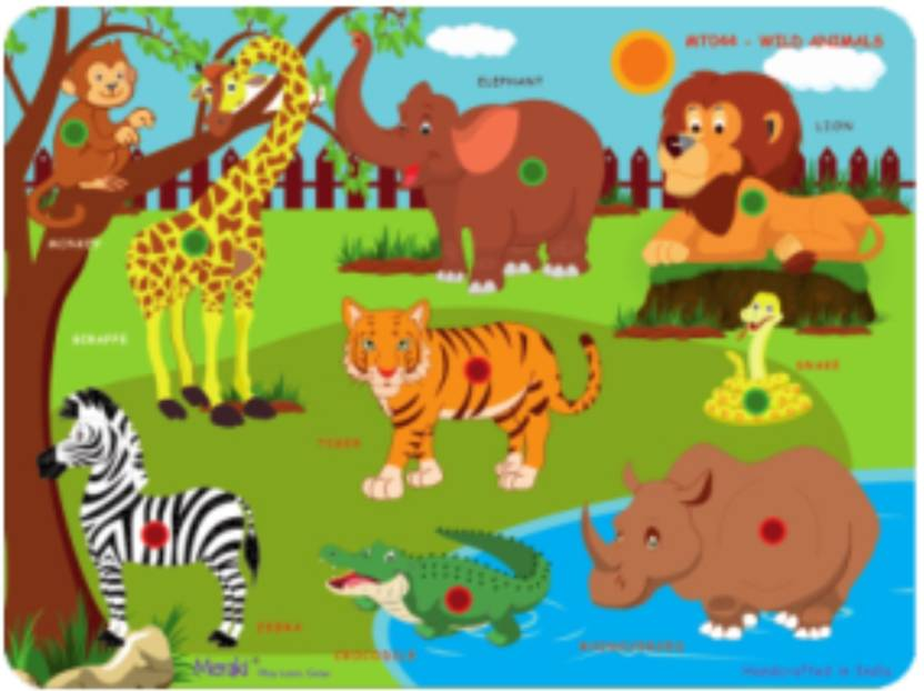 wood o plast puzzle cutouts with knobs wild animals price in india