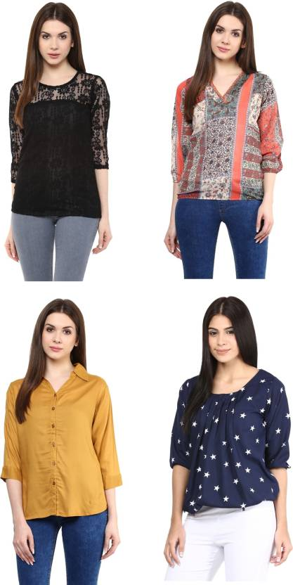 Mayra Party 3/4th Sleeve Lace, Solid, Printed, Stylised Women Multicolor Top