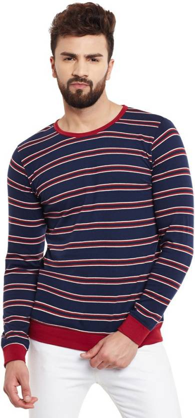 476dcb15e4d Rigo Striped Men s Round Neck Maroon T-Shirt - Buy Maroon Rigo Striped  Men s Round Neck Maroon T-Shirt Online at Best Prices in India