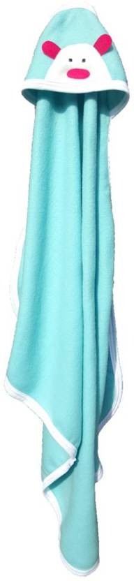 BRANDONN Striped Single Hooded Baby Blanket SEA-GREEN