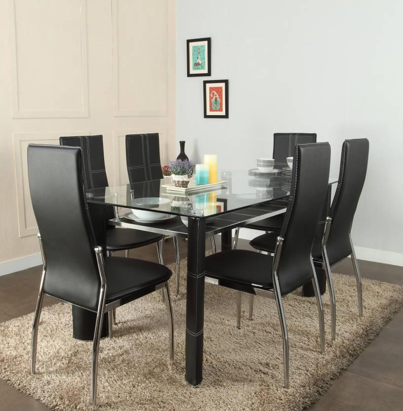 Royaloak Geneva Glass 6 Seater Dining Set