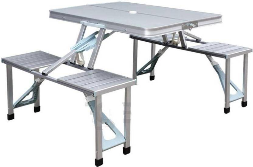 GOR Aluminum Foldable Picnic Table With Umbrella Metal Outdoor - Metal picnic table with umbrella