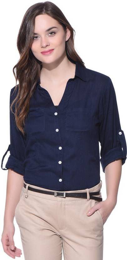 7883f15a7dd Purys Women s Solid Formal Button Down Shirt - Buy NAVY Purys ...