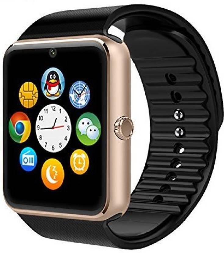9df3ceea3e PremiumAV CROCON NFC BLUETOOTH SMART WATCH GT08 FOR ANDROID, IOS, & SMART  PHONES GOLD Black Smartwatch (Black Strap Free Size)