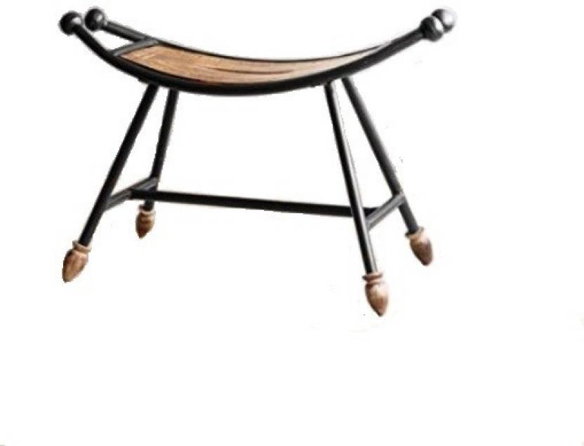 Desi Karigar Wooden Wrought Iron Chair Living Bedroom Stool