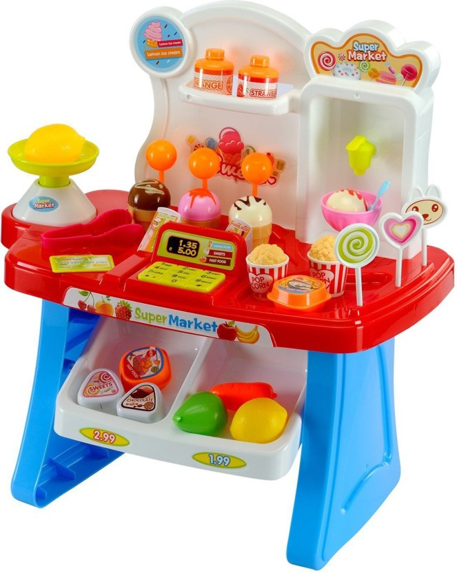 Kids Supermarket Role Play Toy with Shopping Trolley /& Accessories Light /& Sound