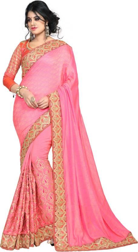 55bed10fae868 Buy pratham blue Embroidered Fashion Silk Pink Sarees Online   Best ...