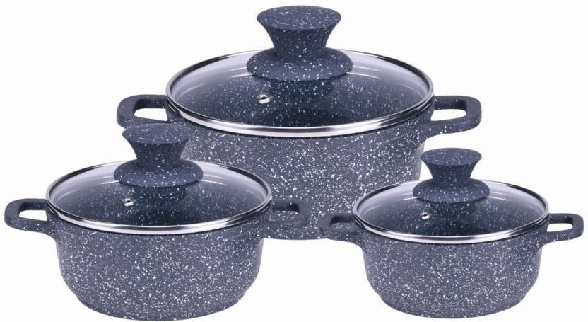 Wonderchef wonderchef granite die cast casserole set for Kitchen set on flipkart