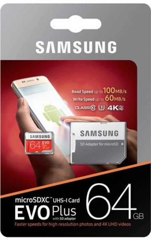 Samsung EVO PLUS 64 GB MicroSD Card Class 10 48 MB S Memory