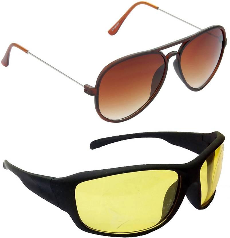 d3445280cf0e Buy Hrinkar Aviator Sunglasses Brown