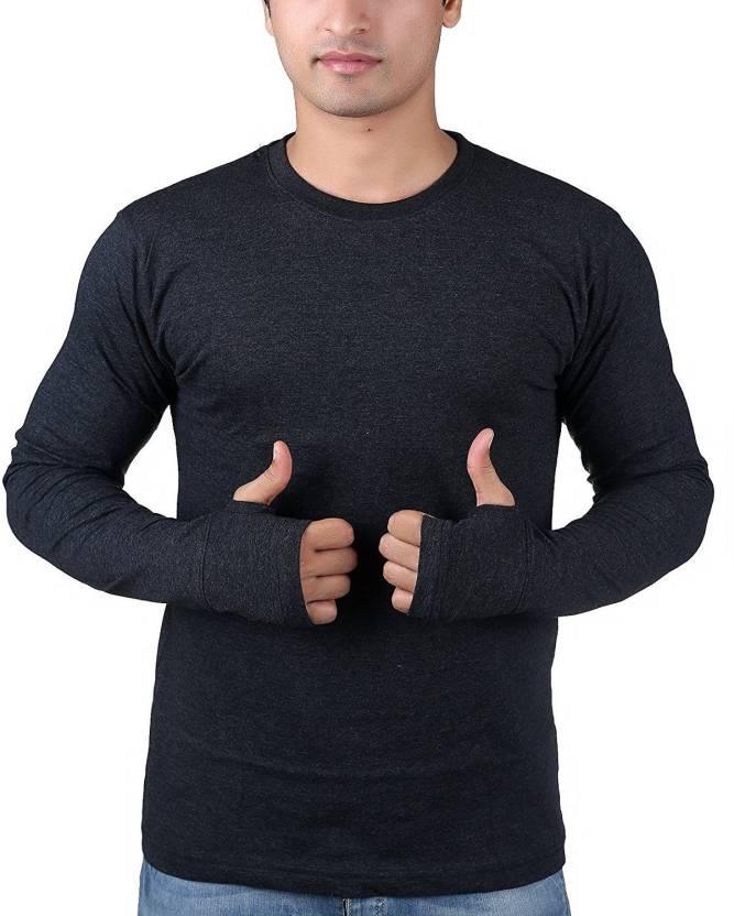 f20ee00b075 Fingers Solid Men Round Neck Black T-Shirt