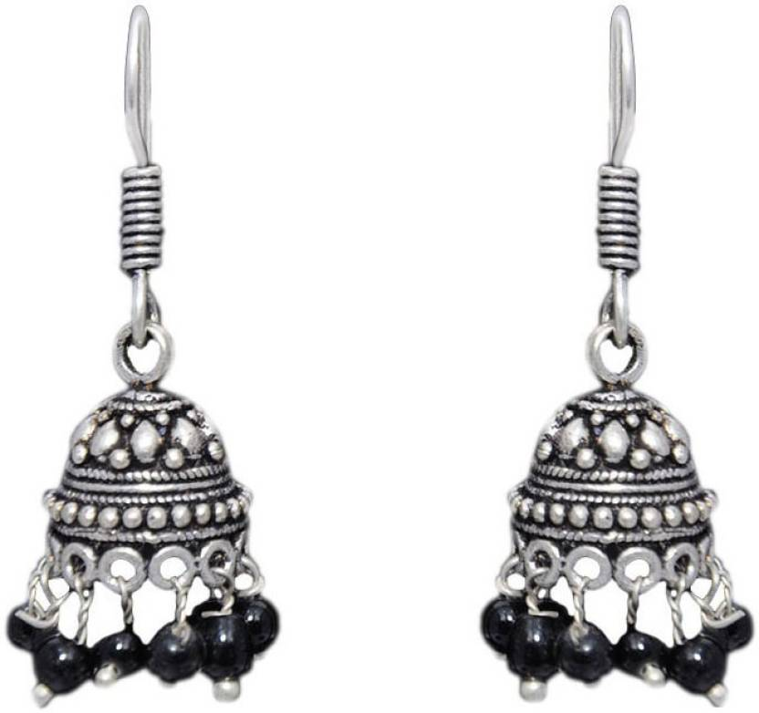 4af827db9 Gehna Black Onyx Stone Jhumka Style Earring In .925 Silver Overlay Onyx  Brass Drops &