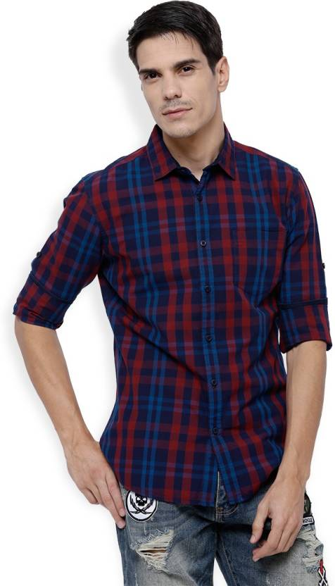 Highlander Men Checkered Casual Dark Blue, Red Shirt