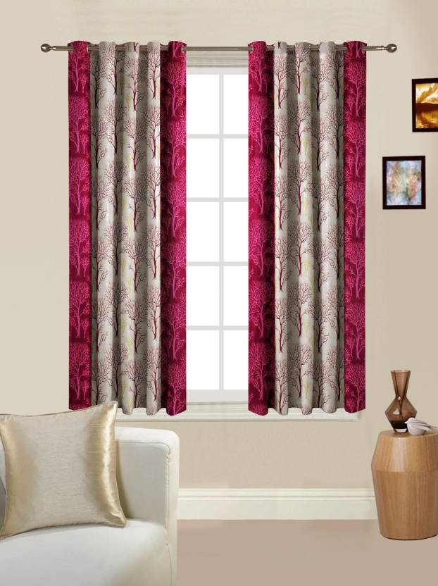 Optimistic Home Furnishing Polyester Maroon Floral Eyelet Window Curtain