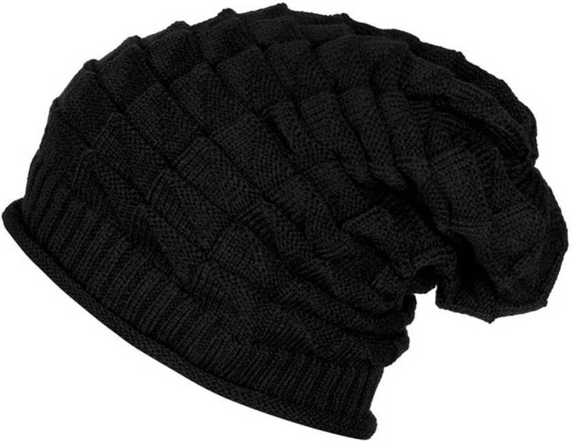 HOZIE Stylish Black Slouchy Woolen Stretchable Cap - Buy HOZIE Stylish  Black Slouchy Woolen Stretchable Cap Online at Best Prices in India  b0cc11d87dab