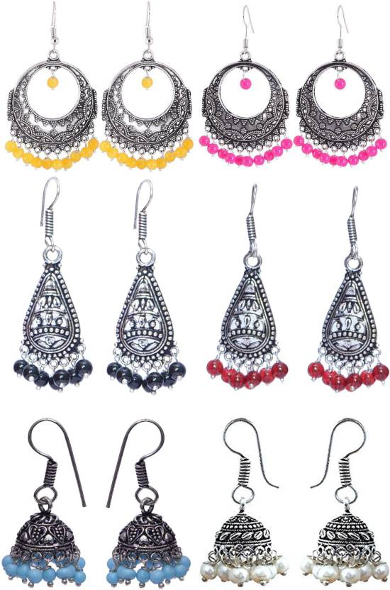 c49c6d5d7 Flipkart.com - Buy 11 Girls Beautiful Oxidized Silver Earring Set Pack of 6  German Silver Earring Set Online at Best Prices in India