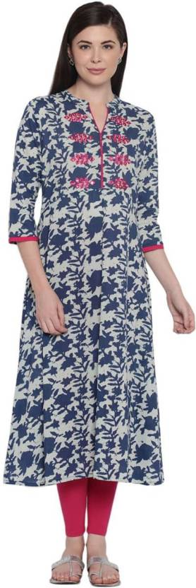 Rangmanch by Pantaloons Printed Women A-line Kurta  (Dark Blue)