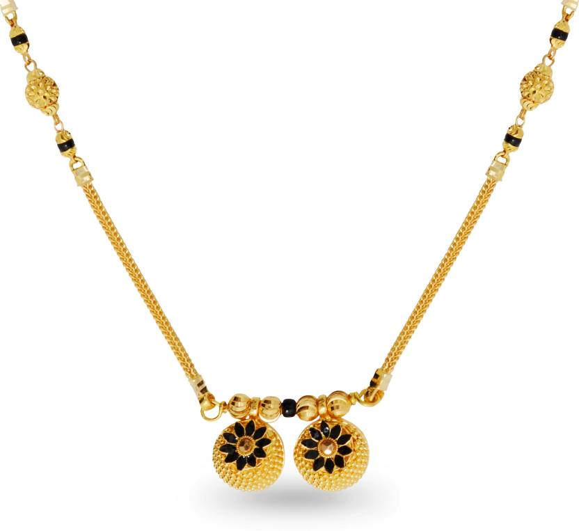 20d058b9685b5 P.N.Gadgil Jewellers Akuti Light Weight 22kt Yellow Gold Mangalsutra ...