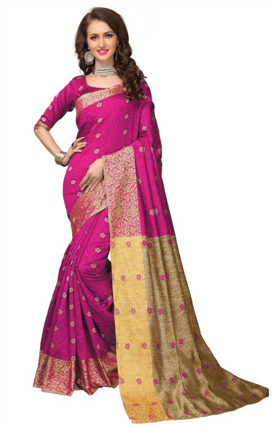 ad49cba53d2e4f Buy monjolika fashion Woven Banarasi Banarasi Silk Multicolor Sarees ...