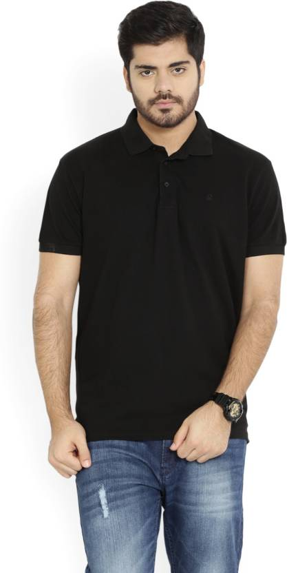United Colors of Benetton. Solid Men's Polo Neck Black T-Shirt