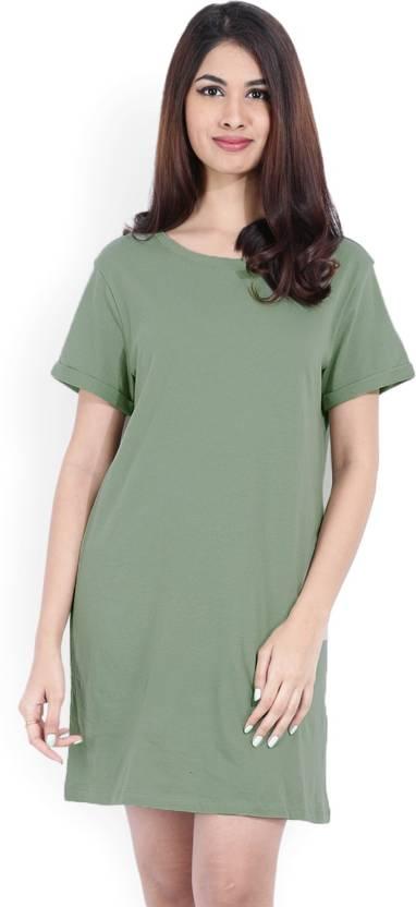 a830d9c4c94d Forever 21 Women T Shirt Green Dress - Buy LIGHT OLIVE Forever 21 ...