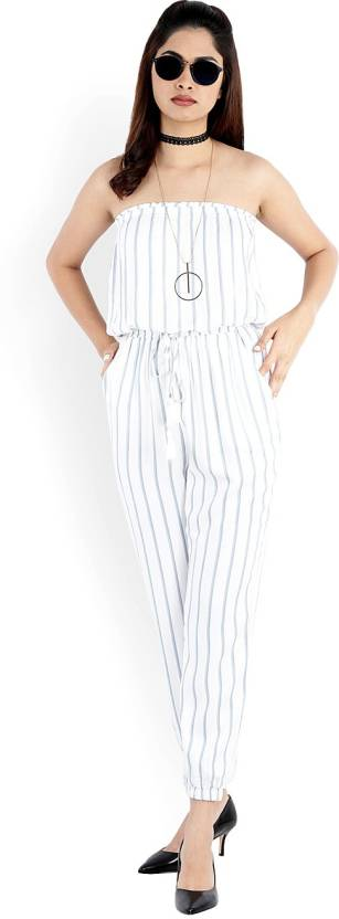 94edaec8153b Forever 21 Striped Women Jumpsuit - Buy IVORY BLUE Forever 21 ...