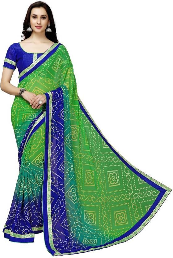 59cccf25f2 Buy onlinefayda Printed Bandhani Georgette Green Sarees Online ...