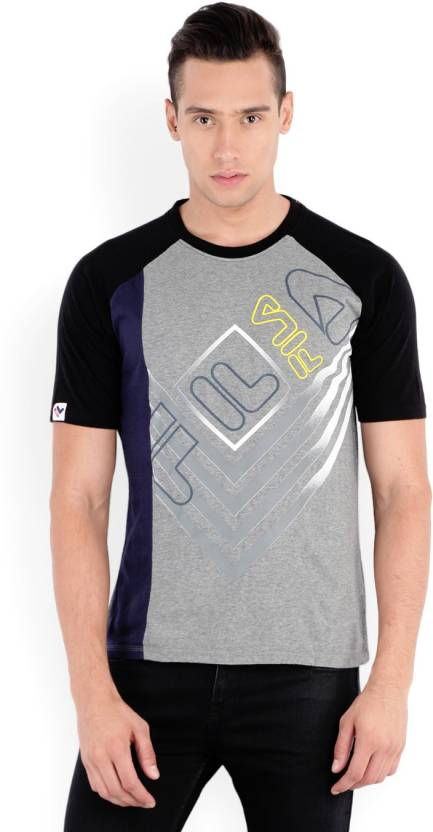 Fila Printed Men's Round Neck Grey T-Shirt