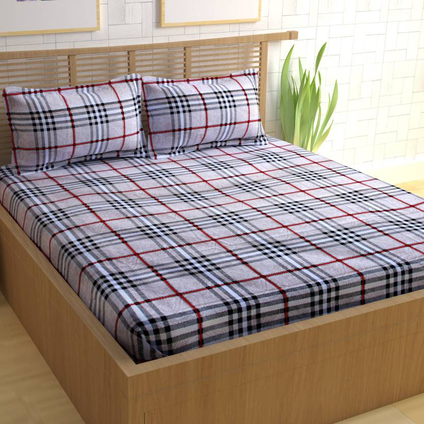CURL UP Cotton Checkered Queen sized Double Bedsheet