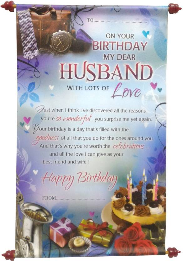 Saugat Traders Scroll Card For Husband Greeting Blue Pack Of 1