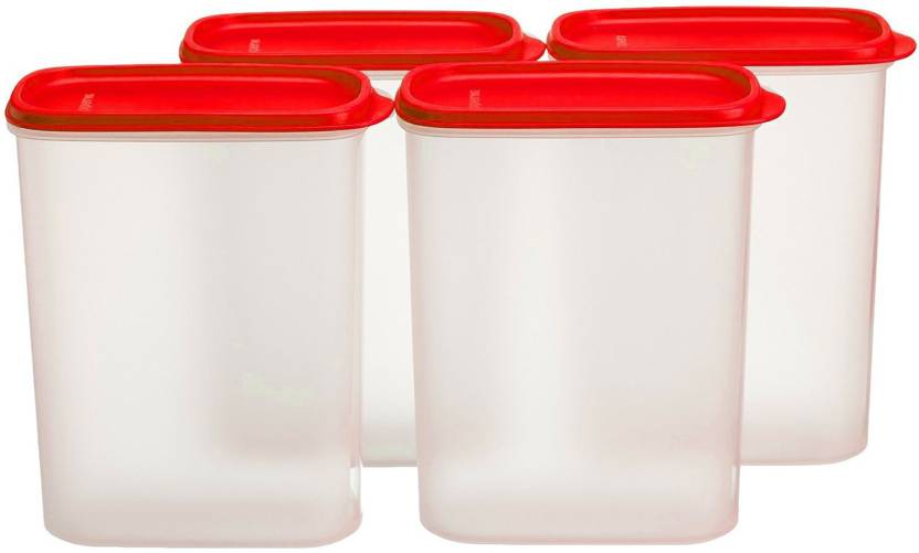 PE New Transparent Tupperware Smart Saver Plastic Container Set of 4 Containers Lunch Box