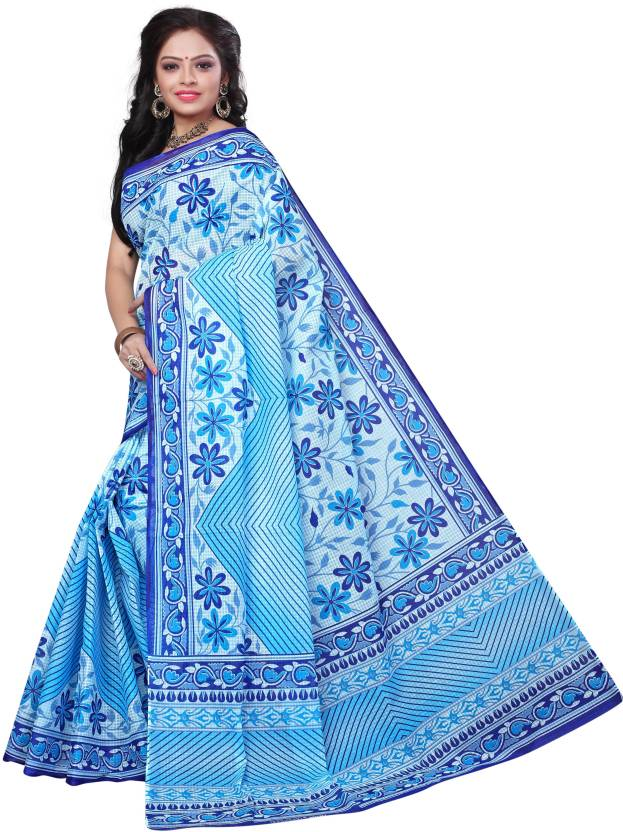 bff57f968d Buy Minu Printed Fashion Cotton Blue Sarees Online @ Best Price In ...