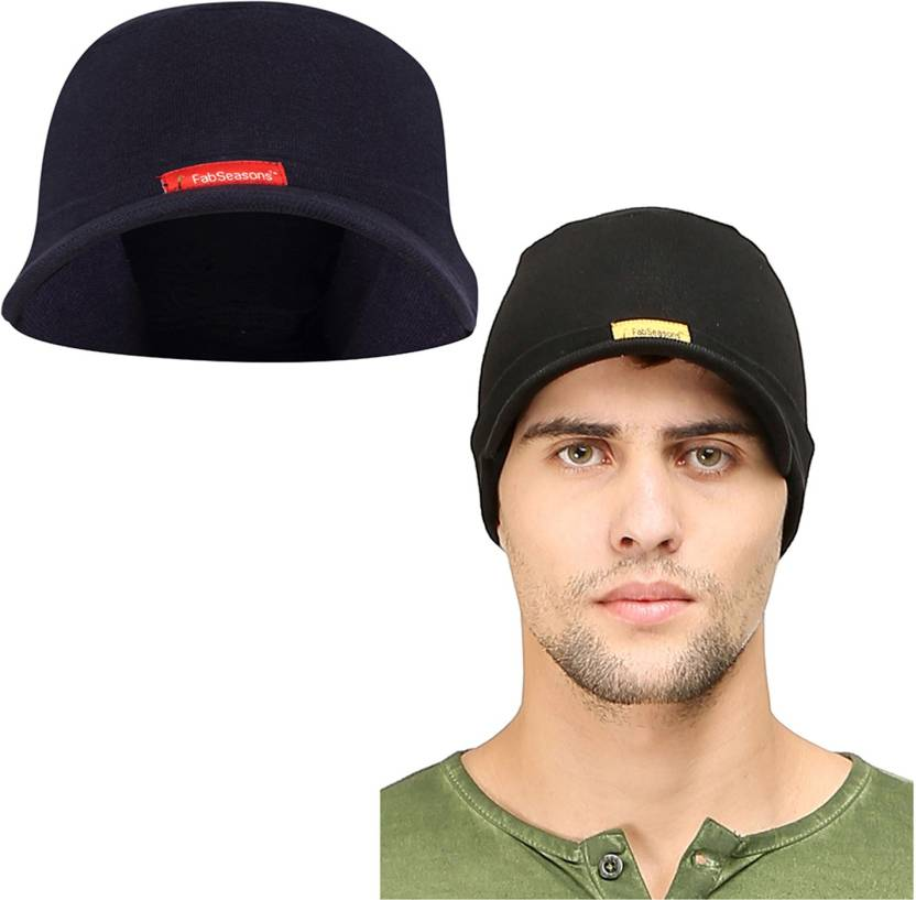 4a277d45 FabSeasons Solid Cotton Skull Cap with Peak, ideal for all Summer &  Winters.(Blue, Black) Cap (Pack of 2)