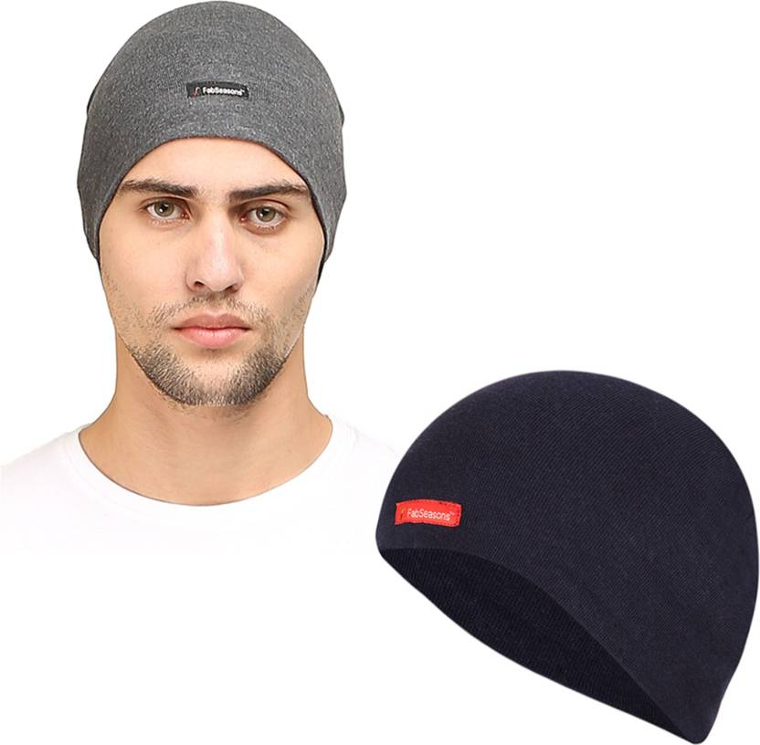 cc50a0c4 FabSeasons Solid Cotton Skull Cap, ideal for all Summer & Winters. Can be used  under Helmet.(Blue, Darkgray) Cap (Pack of 2)