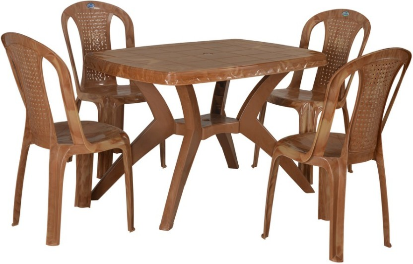 Nilkamal Shahenshah Rectangular Plastic 4 Seater Dining Set