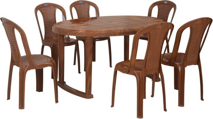 buy online fa47b 51484 Nilkamal Grand Oval Plastic 6 Seater Dining Set Price in ...