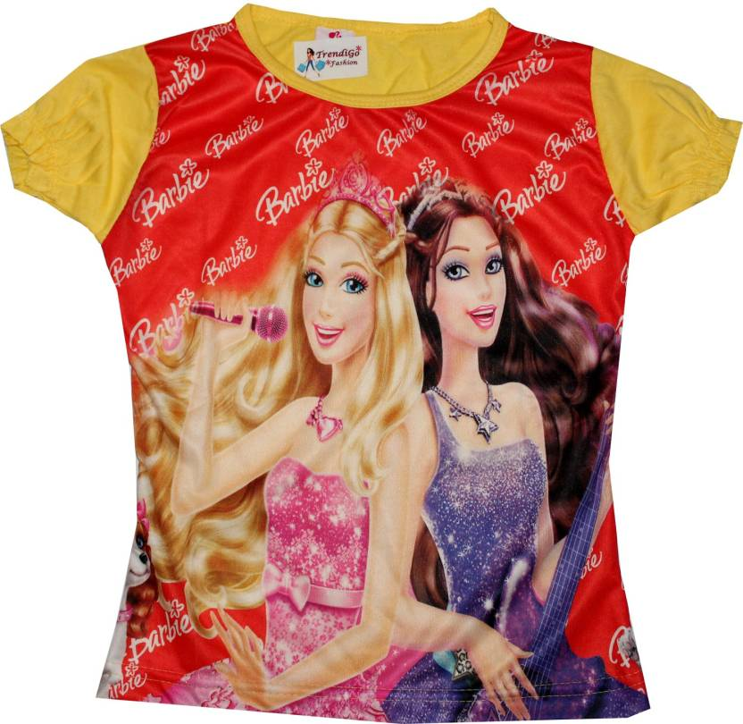 58a2d63dd TrendiGo Fashion Girls Graphic Print Polyester Cotton Blend T Shirt  (Yellow, Pack of 1)