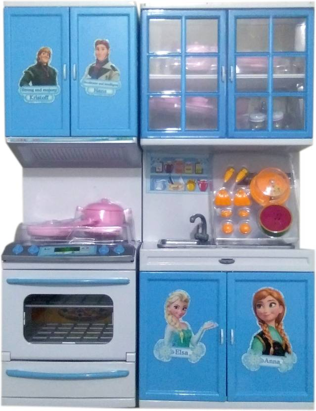 Techhark Beautiful Disnep Frozen Light Music Modern Kitchen Set For
