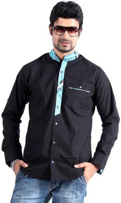 9ff59f21fc1 S9 Fashion Men Solid Casual Shirt - Buy Black