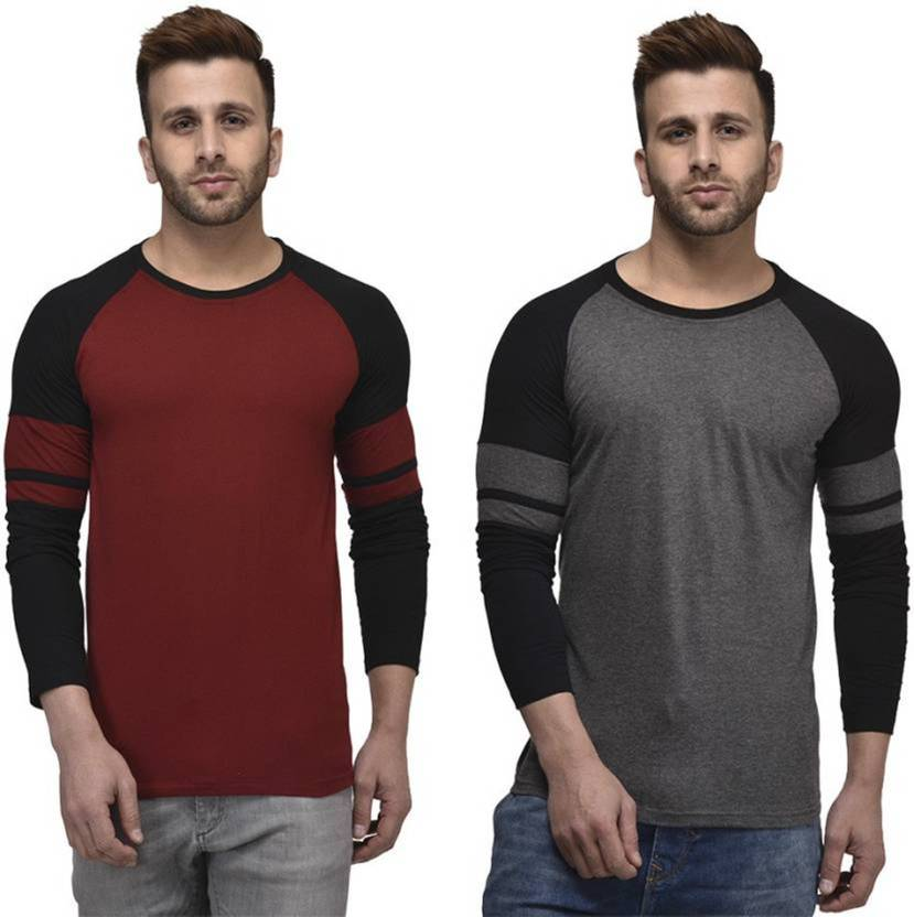UZEE Solid Mens Round Neck Multicolor T-Shirt  (Pack of 2)