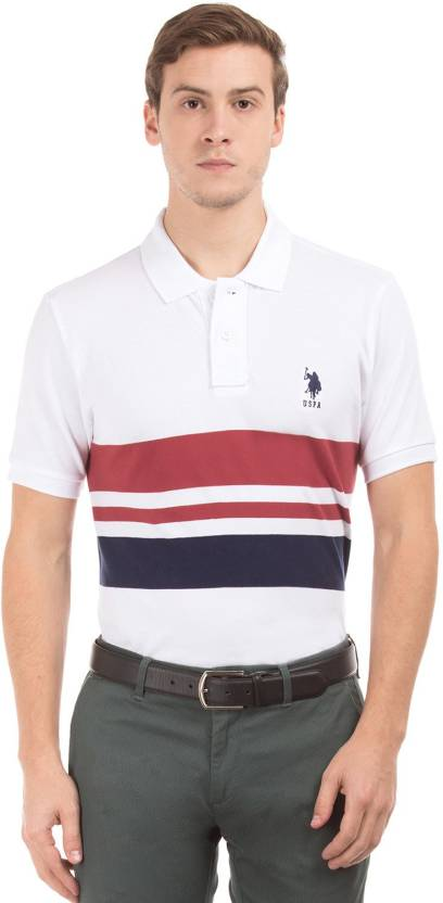U S Polo Assn Striped Men Polo Neck White T Shirt Buy White U S