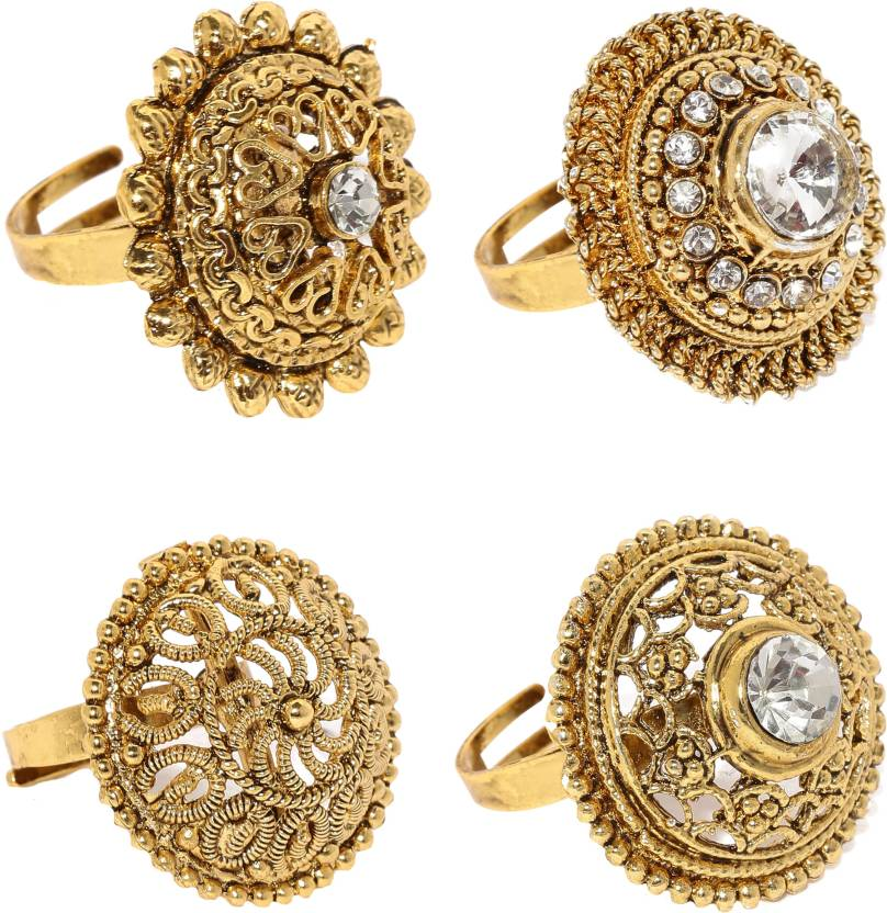 Zaveri Pearls Zinc 22K Yellow Gold Plated Ring Set Price in India