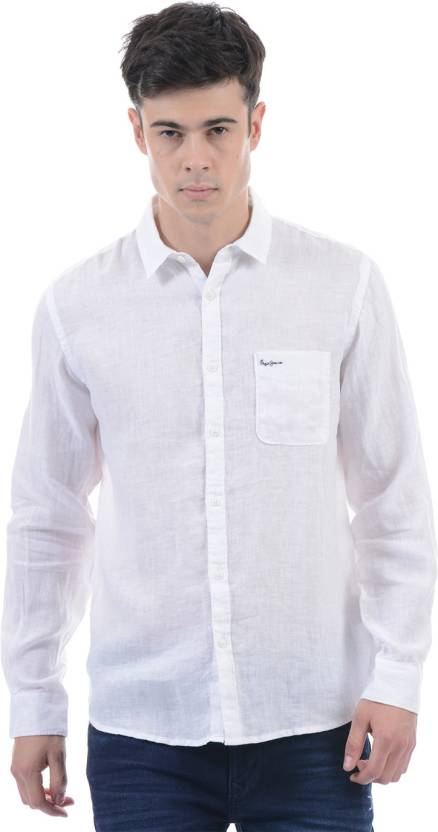91fc4ffa055 Pepe Jeans Men s Solid Casual White Shirt - Buy WHITE Pepe Jeans Men s  Solid Casual White Shirt Online at Best Prices in India