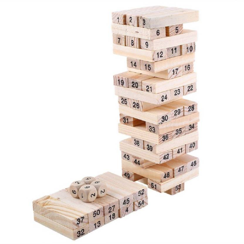 Emob 40 Wooden Building Blocks With 40 Wooden Dice Jenga Learning Game For Kids Interesting Games With Wooden Blocks