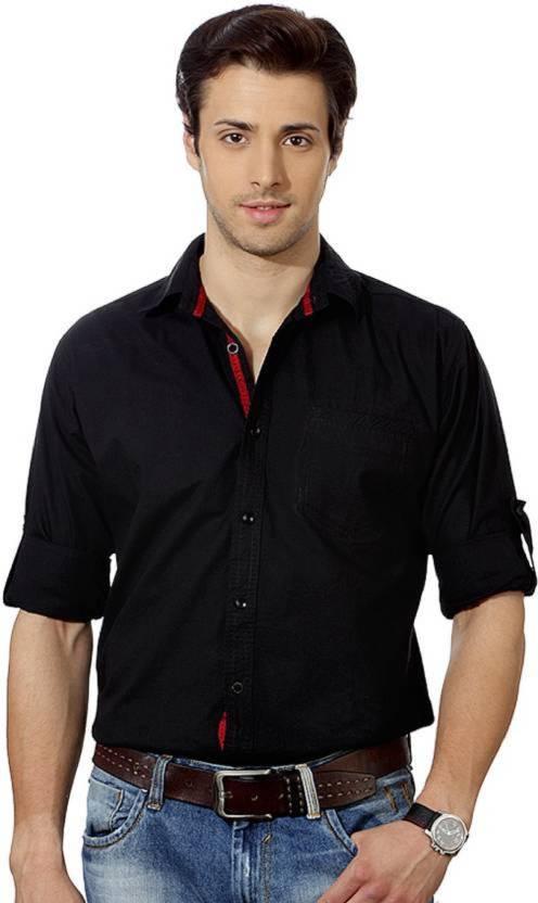 Suspense Men's Solid Casual Black Shirt